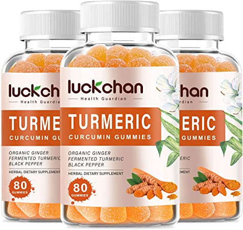 (3 Pack) High Potency Turmeric Curcumin Gummies with Ginger & Black Pepper - Supports Joint & Anti-Inflammatory - Tumeric Gummy Supplements for Adults, Teens & Kids - Vegan, Gluten-Free