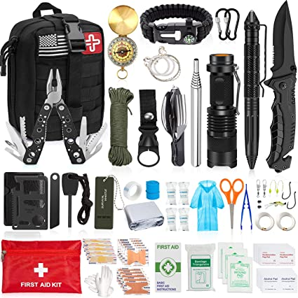 Emergency Survival Kit Camping Equipment Outdoor Hiking Gear Set with Case Gift
