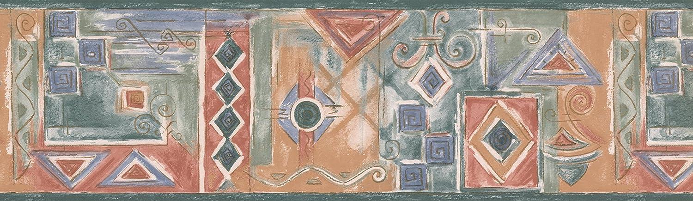 rouleau de 15/x 17,8/cm Rouge Bleu Vert abstrait Frise pour papier peint Motif g/éom/étrique
