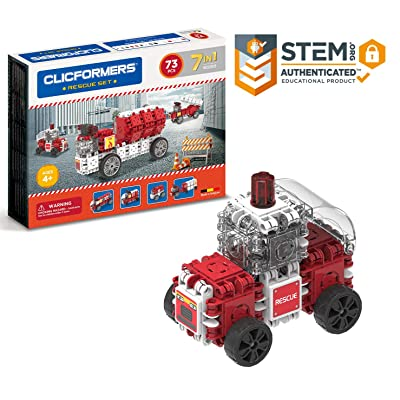 Clicformers Rescue 73Pc, Rainbow colors, wheels, Construction STEM Toy Set Ages 4+: Toys & Games