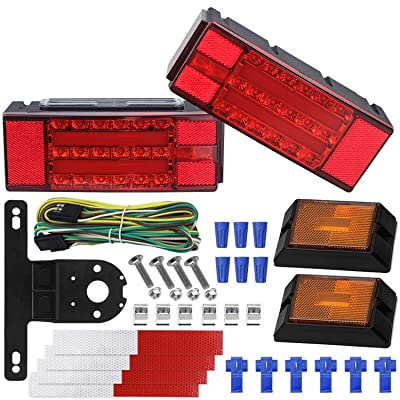 WoneNice LED Low Profile Submersible Trailer Tail Light Kit, rectangle LED Trailer Lights Halo Glow with Wiring Harness Combined Stop, Tail Lights, Turn Function for Boat Trailer, 12V: Automotive