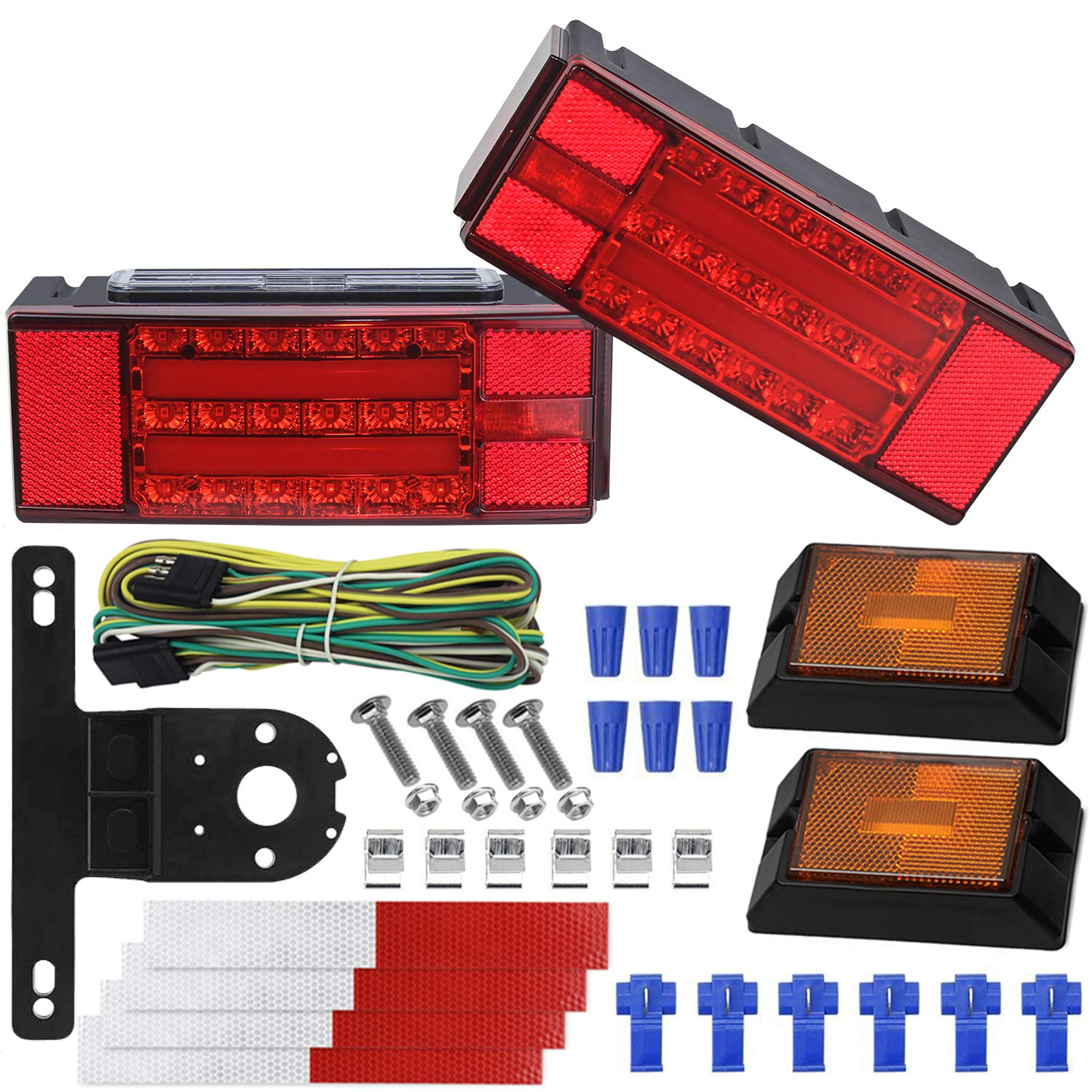 WoneNice LED Low Profile Submersible Trailer Tail Light Kit, rectangle LED Trailer Lights Halo Glow with Wiring Harness Combined Stop, Tail Lights, Turn Function for Boat Trailer, 12V by WoneNice