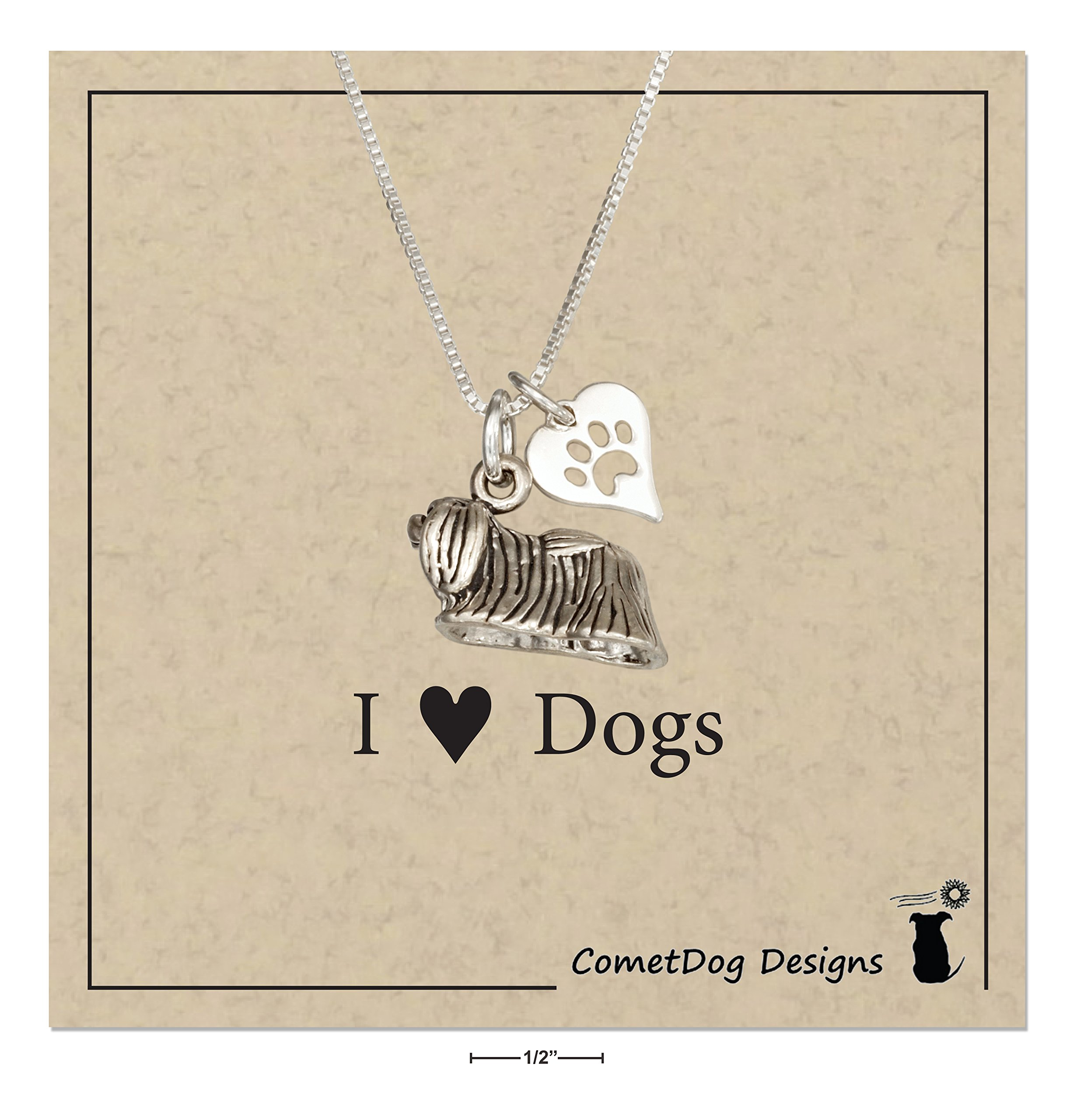 Sterling-Silver-18-inch-Pekingese-Dog-Pendant-Necklace-with-Paw-Print-Heart