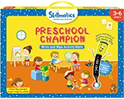 Skillmatics Educational Game: Preschool Champion (3-6 Years)   Erasable and Reusable Activity Mats with 2 Dry Erase Markers  