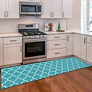 "WiseLife Kitchen Mat Cushioned Anti-Fatigue Kitchen Rug, 17.3""x 59"" Waterproof Non-Slip Kitchen Mats and Rugs Heavy Duty PVC Ergonomic Comfort Mat for Kitchen, Floor Home, Office, Sink, Laundry, Green"
