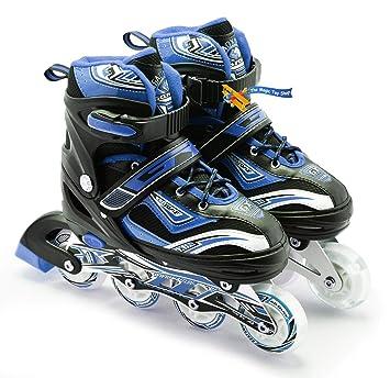 Patines ajustables para adultos y niños de 4 ruedas en línea , azul y negro, Large /UK 5 - 7/: Amazon.es: Deportes y aire libre