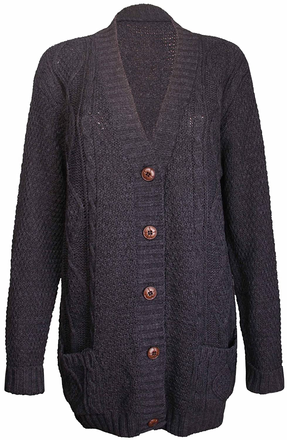 Womens Ladies Chunky Cable Knitted Long Sleeve Button Grandad ...
