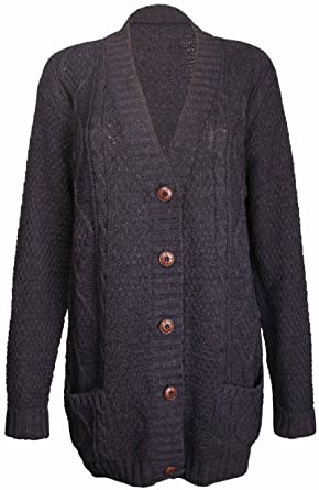 PurpleHanger Women's Long Sleeve Cable Knit Chunky Cardigan at ...