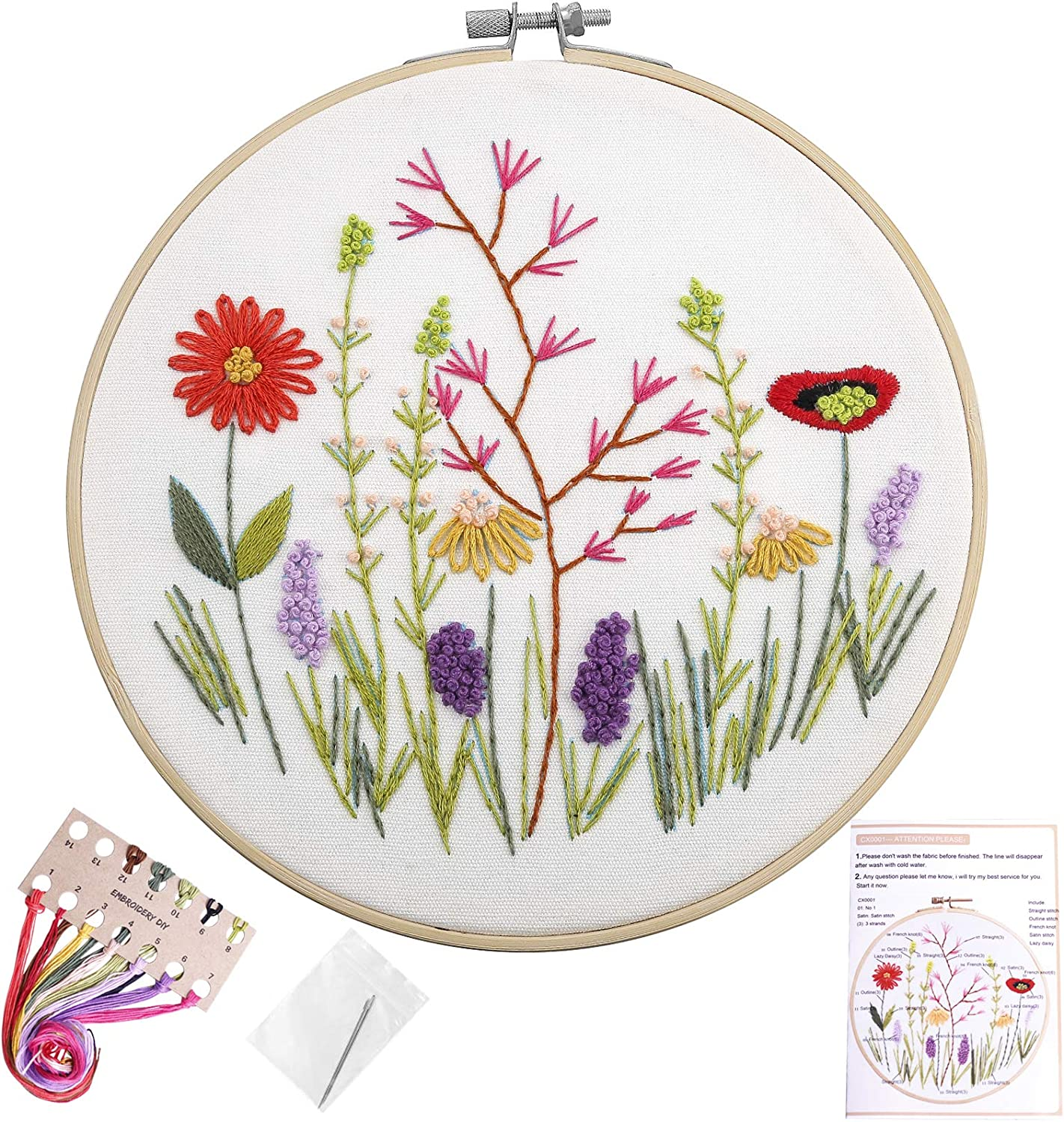 100/% Cotton DIY Embroidery Starter Kits DIY Needlework for Beginners Kids Adults Full Range of Stamped Cross Stitch Kits 36/×44CM Butterfly Love Flower 18 Printed 11CT