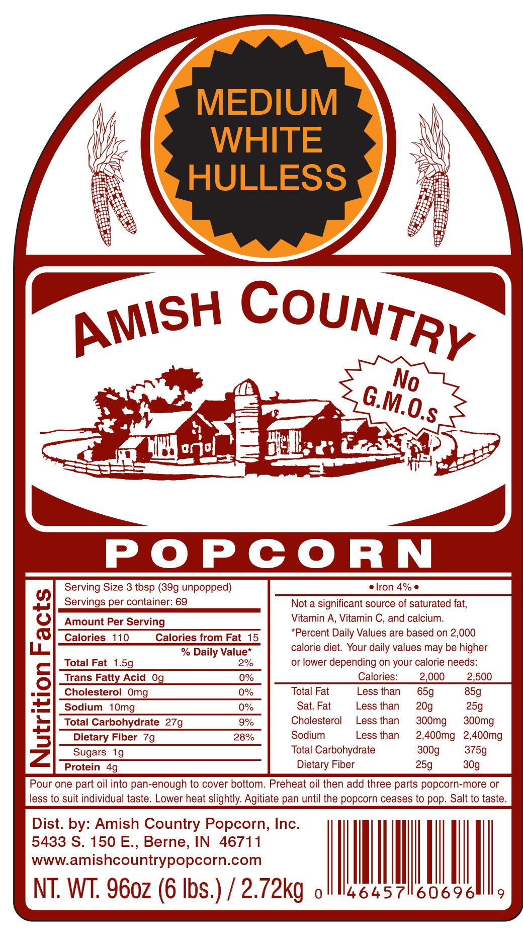 Amish Country Popcorn - Medium White (6 Pound Bag) Popcorn Kernels with Recipe Guide, Old Fashioned, Non GMO, Gluten Free, Microwaveable, Stovetop and Air Popper Friendly by Amish Country Popcorn (Image #8)