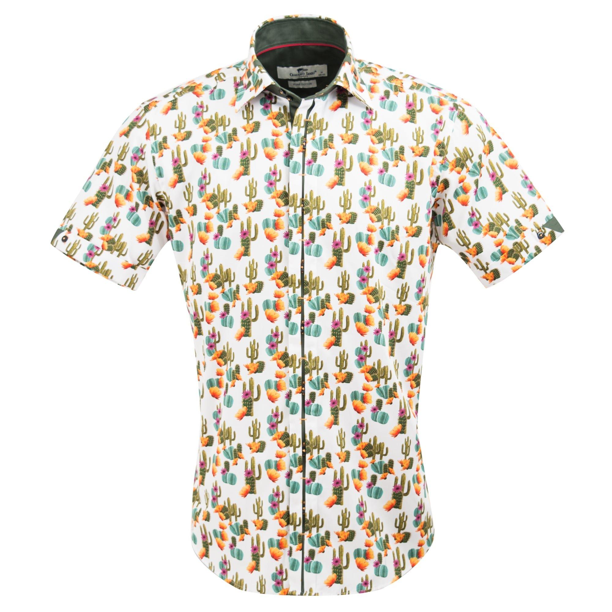Claudio Lugli Men's Cactus Print Fashion Luxury Cotton Short Sleeve Summer Casual Shirt CP6407 2xlarge Multi