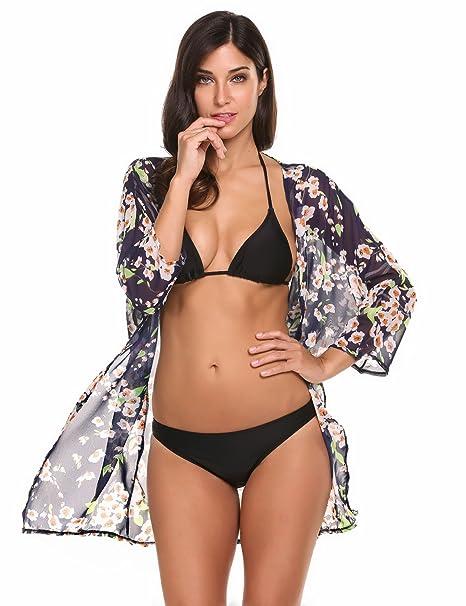 79268e8cd9bc5 Meaneor Women s Cover Up Kimono Beach Swimwear Bikini Chiffon Boho Floral  Cardigan at Amazon Women s Clothing store