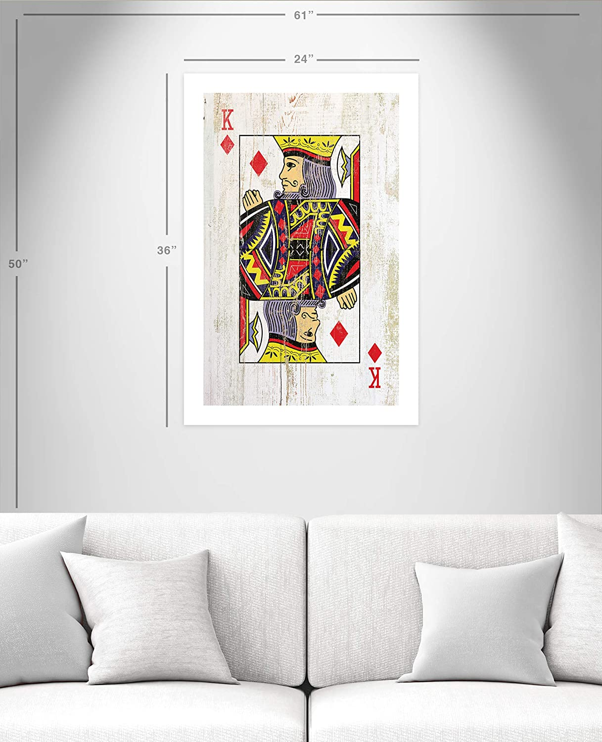 Casa Fine Arts King Of Diamonds Rustic Wood Texture Man Cave Poker Playing Cards Archival Art Print 24 X 36 Black And Red