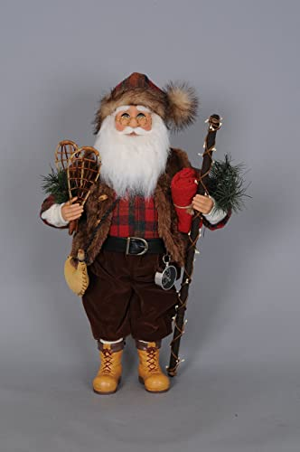 Karen Didion Originals Mountaineer Santa Figurine, 17 Inches – Handmade Christmas Holiday Home Decorations and Collectibles