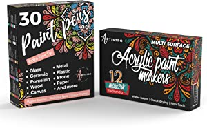 Artistro 12 Acrylic Paint Markers Medium Tip and 30 Acrylic Paint Markers Extra Fine Tip, Bundle for Rock Painting, Wood, Fabric, Card, Paper, Photo Album, Ceramic & Glass