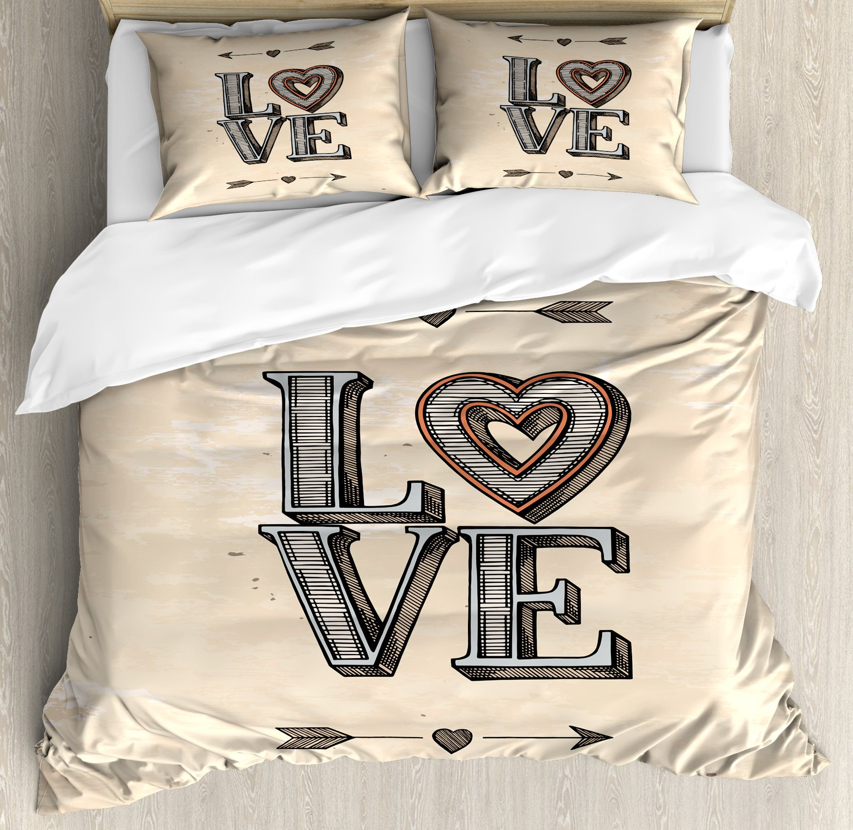 Love Duvet Cover Set King Size by Ambesonne, Grunge Looking Vintage Letters with Heart and Arrows Boho Tribal Hipster Design, Decorative 3 Piece Bedding Set with 2 Pillow Shams, Beige Grey Orange