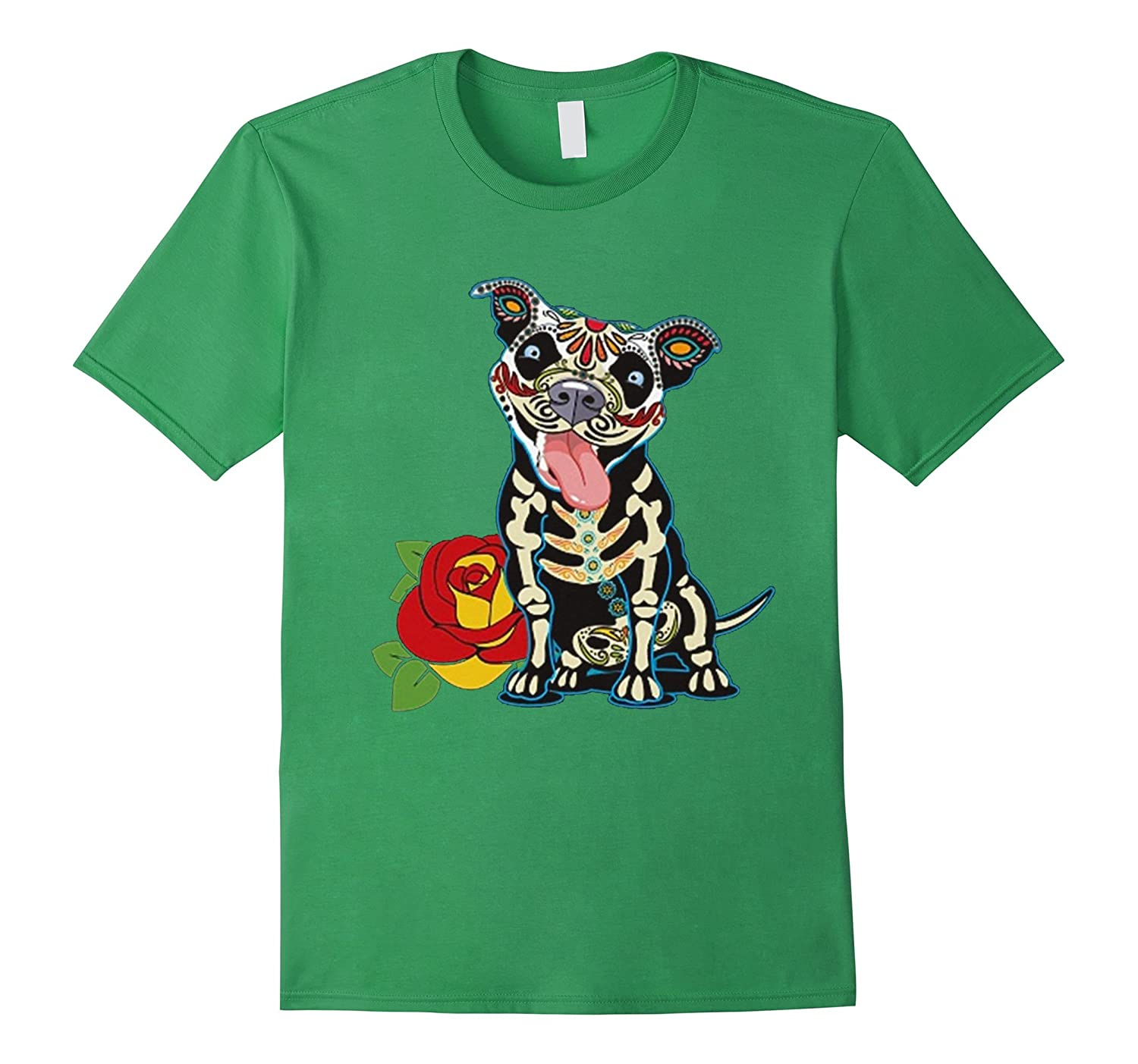 Day of The Dead Pitbull Tshirt-Vaci