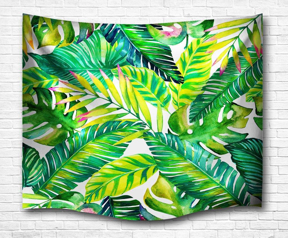 Dremisland Wandteppich Wandbehang Wandtuch Wandtuch Wandtuch Tropische Art Grüne Blätter Indische Wand Dekor Hippie Böhmische Mandala Tapisserien (M 203X153cm(80X60inch)) d377ba