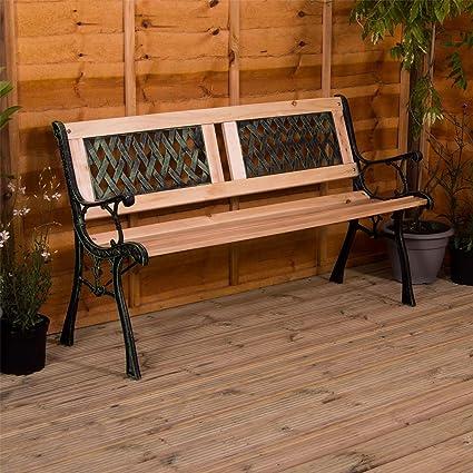 Pleasing Garden Vida Garden Bench Twin Cross Style Design 3 Seater Outdoor Furniture Seating Wooden Slats Cast Iron Legs Park Patio Seat Uwap Interior Chair Design Uwaporg