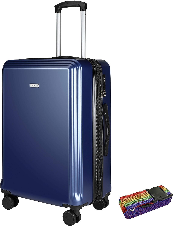 4 Roues pivotantes Serrure TSA Grand Bagage Double Fermeture /à glissi/ère Extensible 15/% 106L-77cm PC Amasava Valise Rigide ABS Sangles de Bagages gratuites*1 vin Rouge