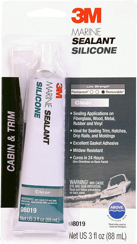 3M Marine Grade Silicone Sealant, Clear, PN08019, 3 oz Tube