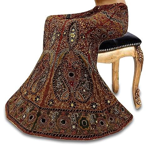Vintage India boda Falda Larga Tejido de poliéster con cuentas ...