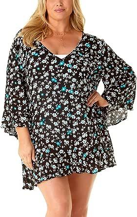Anne Cole Women's Plus Size Flounce Tunic Cover Up Dress