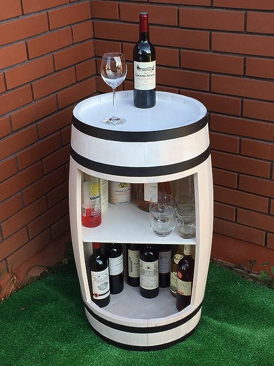 Weinregal, Hausbar, Whiskey Fass Regal aus Holz 81cm, Weiß Fass Bar ...