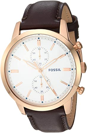 Amazon.com: Fossil Mens Townsman Quartz Stainless Steel and Leather Casual Watch Color: Rose Gold Brown (Model: FS5468): Watches
