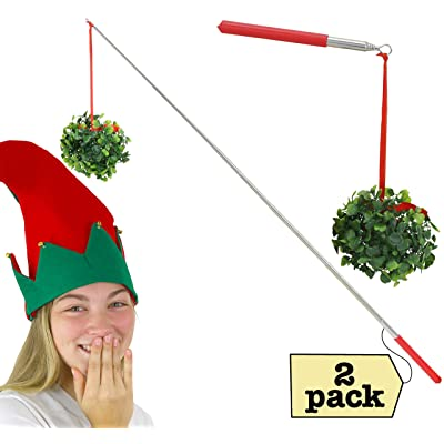 Iconikal Funny Extendable Mistletoe-On-A-Stick Joke, 2-Pack: Toys & Games