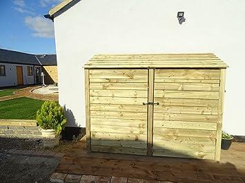 6 ft Heavy Duty Log Store con puertas de pino tratada a presión - Cobertizo para leña y madera - Accesorio de: Amazon.es: Jardín