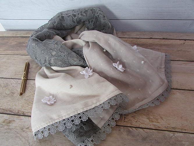 6313ef76392d Echarpe fait main, foulard en tissus coton lin polyester de ton gris ...