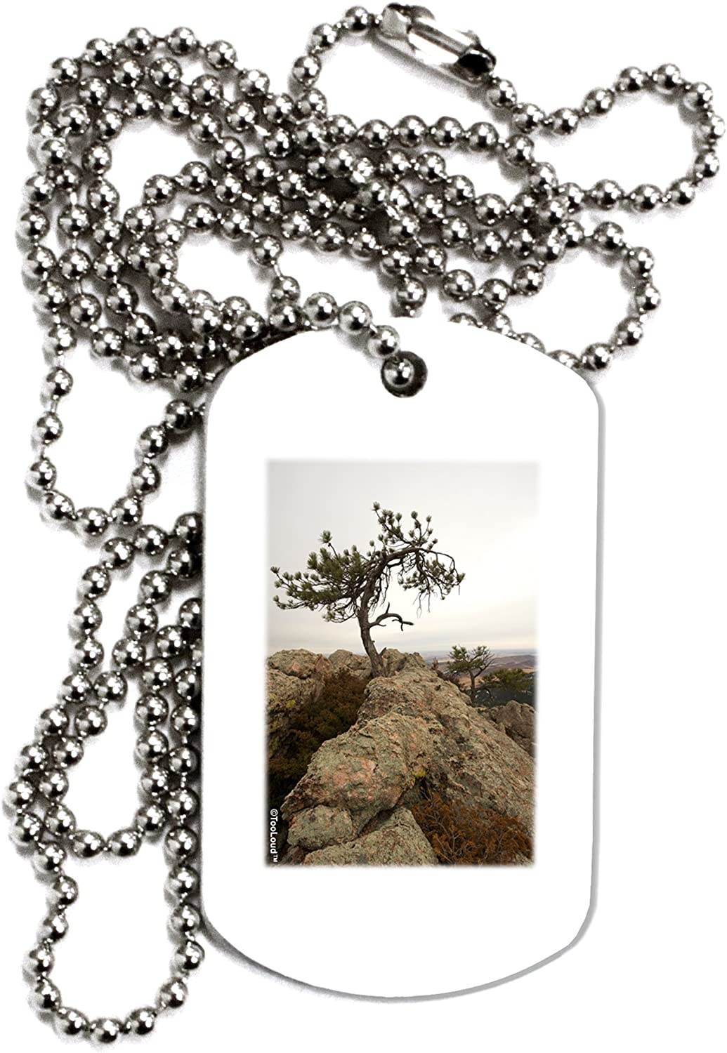 TOOLOUD Stone Tree Colorado Adult Dog Tag Chain Necklace