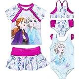 Disney NWT Girls Size 2T Frozen Elsa Anna Swim Suit Rashguard Tankini Top Bottom