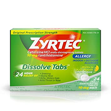Zyrtec 24 Hour Allergy Dissolve Tablets with Cetirizine HCl Antihistamine,  Citrus Flavored, 24 ct