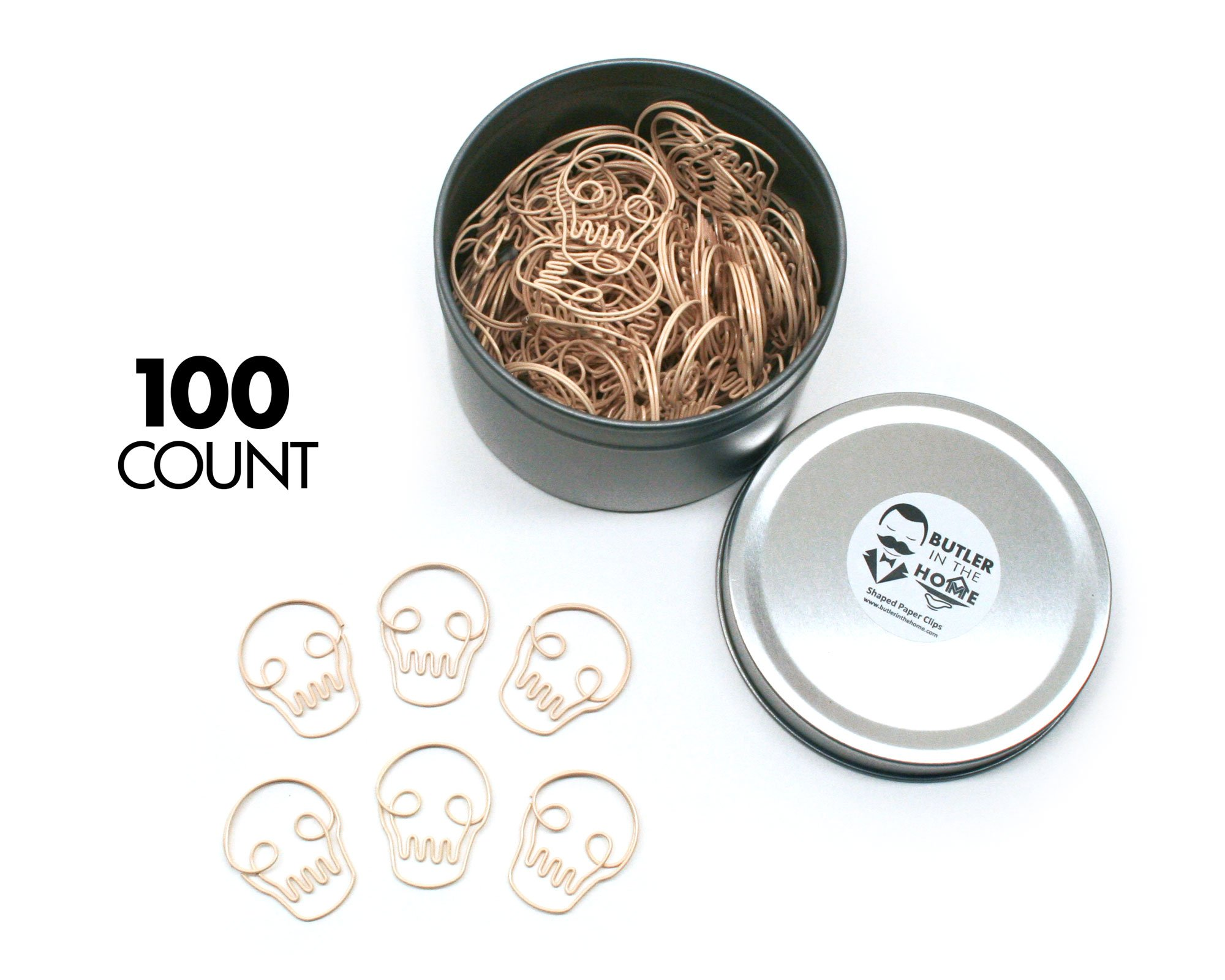 Butler in the Home Skull Head Skeleton Shaped Paper Clips Great For Paper Clip Collectors or Office Gift - Comes in Round Tin with Lid and Gift Box (100 Count Bone Colored)