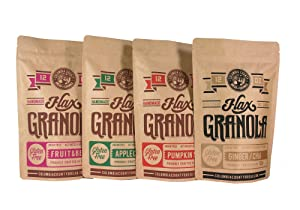 Flax Granola - Variety Pack: Fruit & Berry, Pumpkin Spice, Ginger Chia, and Apple Cinnamon - The Plan Friendly, Gluten Free - 12 oz, 4 pack
