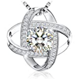 """Silver Necklaces for Women, 925 Sterling Silver CZ Pendant Necklace J.Rosée Jewellery """"Never Ever Be Apart"""" Valentines Best Gifts for Women 18""""+2"""" Extender"""
