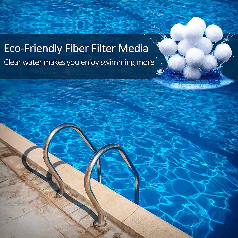Olemon 1.5 lbs Pool Filter Balls Eco-Friendly Fiber Media Filters for Swimming Pool Sand Aquarium Filters 1.5 Lbs Filter Balls is Equivalent to 50 Lbs Filter Sand