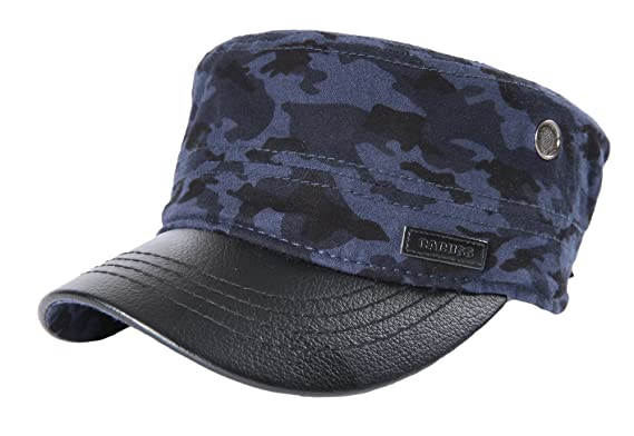 e83a2950112 CACUSS Men s Cotton Army Cap Cadet Hat Military Flat Top Adjustable  Baseball Cap ...