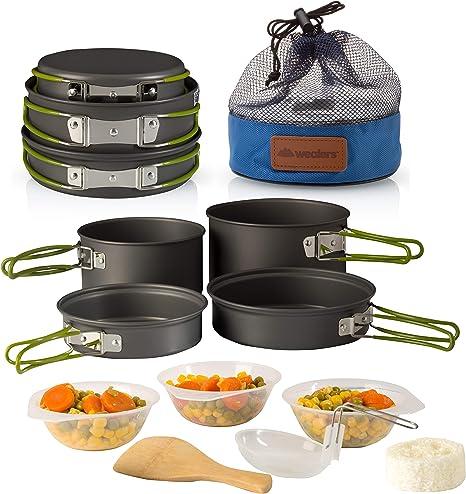 Wealers - Juego de Utensilios de Cocina para Camping (11 Piezas, Incluye Bolsa de Transporte de Malla)