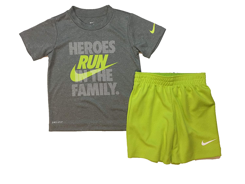 f92a1e59c8b90 Nike Boy`s Dri-Fit T-Shirt & Shorts 2 Piece Set (Cyber(76E906-e2H)/White,  3T)
