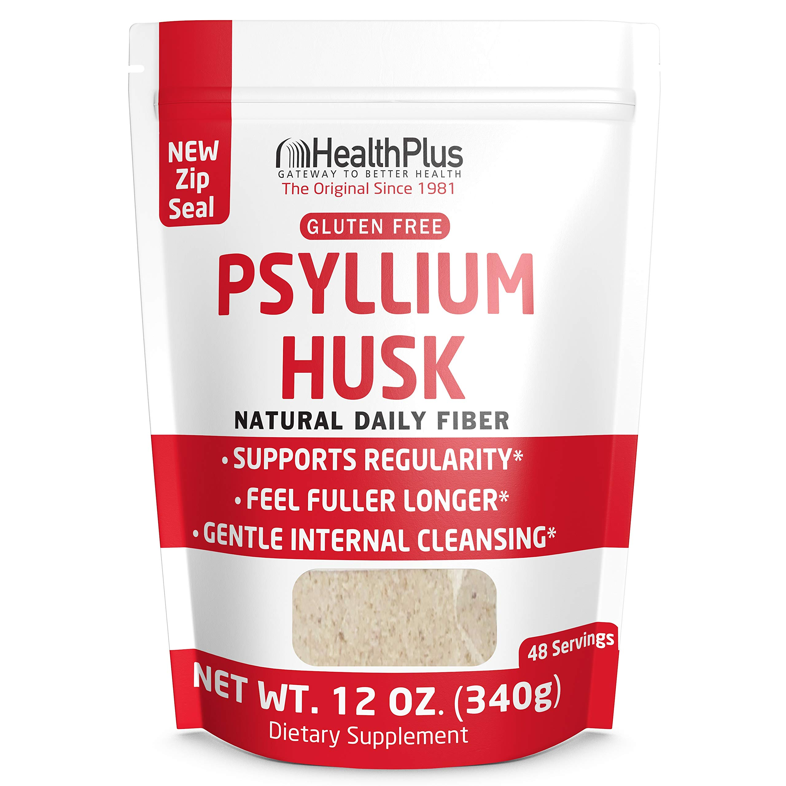 Health Plus Pure Psyllium Husk Bags, 12-Ounces, 48 Servings by Health Plus