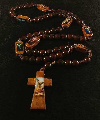 Rosary Wood, Protection Healing Guidance Peace 7 Archangel Michael Uriel Raphael Gabriel Joliel Samuel Zadkiel