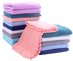16 Pack Baby Washcloths - Luxury Multicolor Coral Fleece - Extra Absorbent and Soft Wash Clothes for Newborns, Infants and Toddlers - Suitable for Sensitive Skin and New Born - Baby Shower