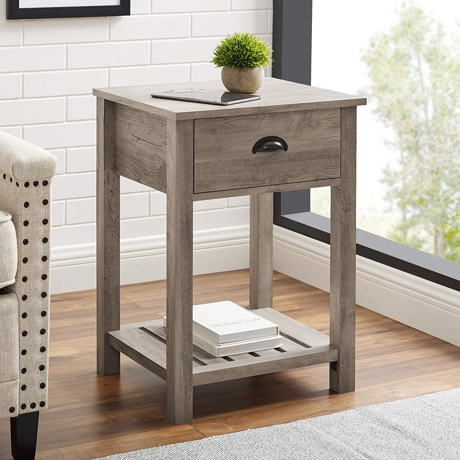 18 Inch Farmhouse 1 Drawer Side Table With Grey Wash Finish Kitchen Dining