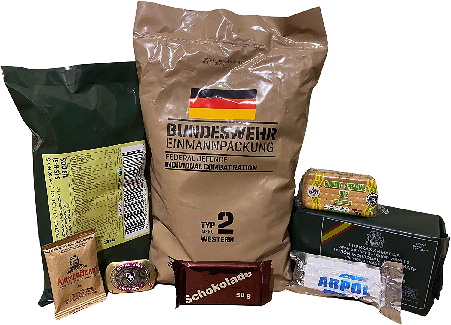 CRAZY BUNDLE OF RATIONS GERMAN+SPANISH+POLISH MRE+5 GOODIES ARMY MEAL READY TO EAT
