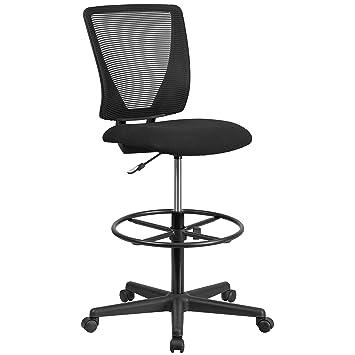 flash furniture ergonomic mid back mesh drafting chair with fabric rh amazon co uk