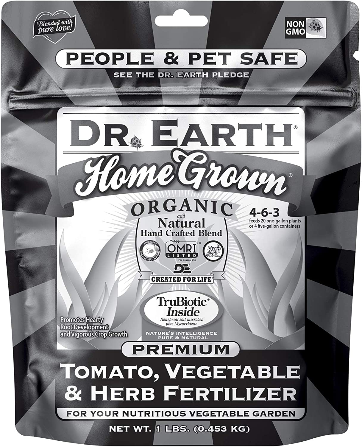 Dr. Earth Organic & Natural MINI Home Grown Tomato, Vegetable & Herb Fertilizer Black Bag ( 1 lbs )