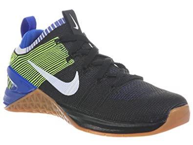 NIKE Men's Metcon DSX Flyknit 2 Black/White/Racer Blue/Volt Knit Cross